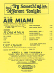 Teen-Beat Night at O'Carroll's Performance flyer Air Miami, Romania, Cath Carroll, Arlington, Virginia