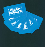 Teen-Beat adhesive sticker light blue vinyl